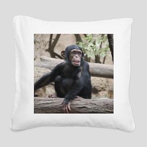 Young Chimp 02 Square Canvas Pillow