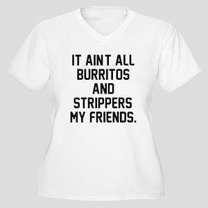 Burritos and stri Women's Plus Size V-Neck T-Shirt