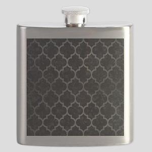 TILE1 BLACK MARBLE & GRAY BRUSHED METAL (R) Flask