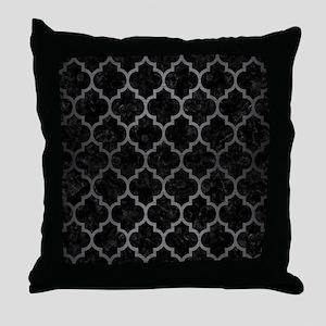 TILE1 BLACK MARBLE & GRAY BRUSHED MET Throw Pillow