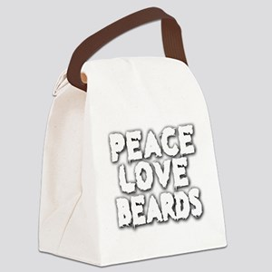 Peace Love Beards for White Canvas Lunch Bag