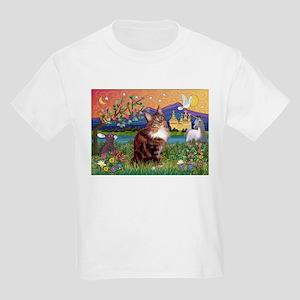Maine Coon in Fantasy Land Kids Light T-Shirt