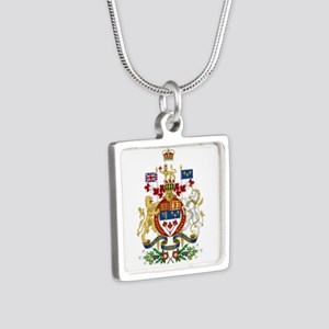 Canada's Coat of Arms Silver Square Necklace