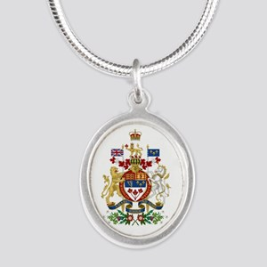 Canada's Coat of Arms Silver Oval Necklace