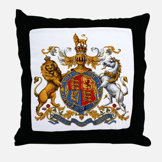 British Royal Coat of Arms Throw Pillow