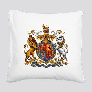 British Royal Coat of Arms Square Canvas Pillow
