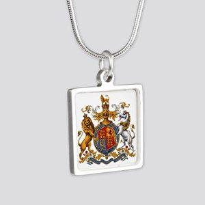 British Royal Coat of Arms Silver Square Necklace
