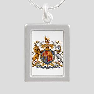 British Royal Coat of Ar Silver Portrait Necklace