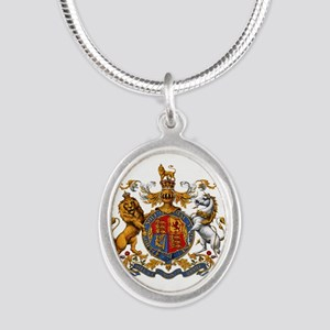 British Royal Coat of Arms Silver Oval Necklace