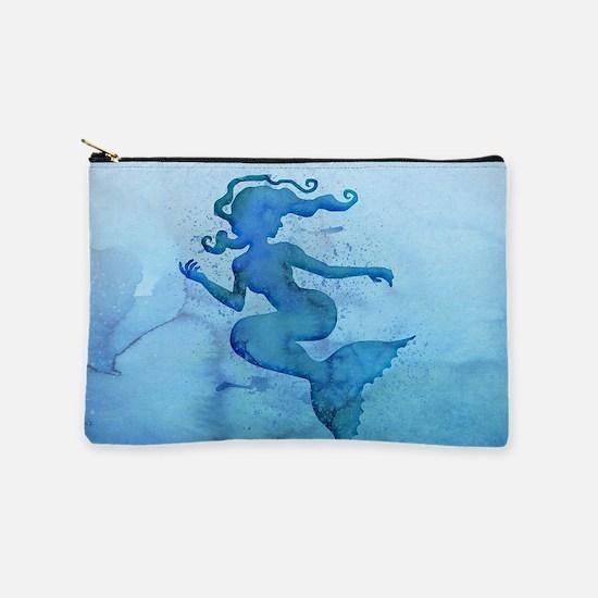 Blue Watercolor Mermaid Makeup Pouch