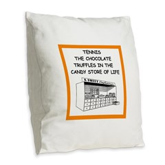 tennis joke Burlap Throw Pillow