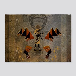 Anubis the egyptian god, pyramid 5'x7'Area Rug