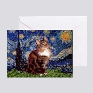 Starry Maine Coon Greeting Card