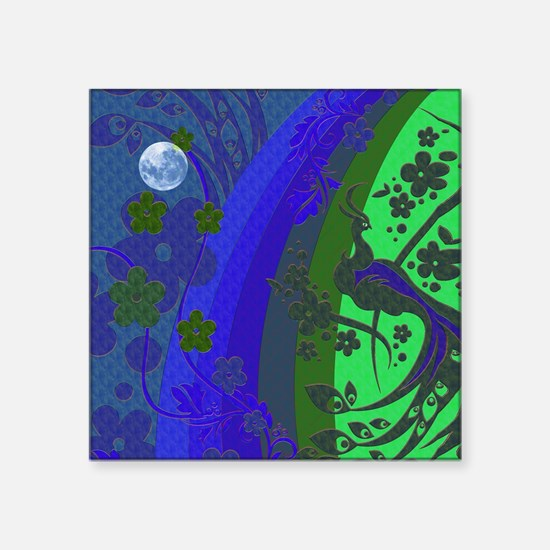 "Peacock By Moon Glow Square Sticker 3"" x 3"""