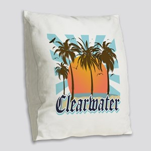 Clearwater Beach Florida Burlap Throw Pillow