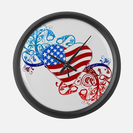4th of July Fourth American Flag Large Wall Clock