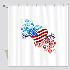 4th of July Fourth American Flag Shower Curtain