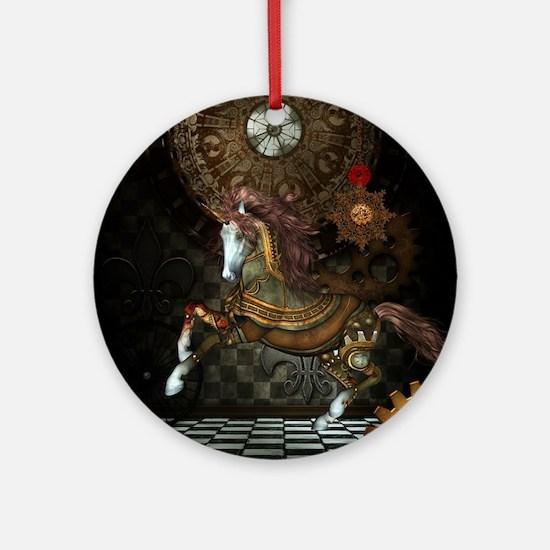 Steampunk,mystical steampunk unicorn Round Ornamen