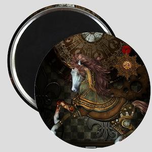 Steampunk,mystical steampunk unicorn Magnets