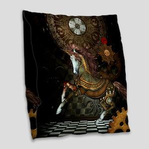 Steampunk,mystical steampunk unicorn Burlap Throw