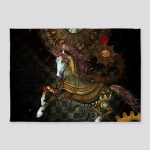 Steampunk,mystical steampunk unicorn 5'x7'Area Rug