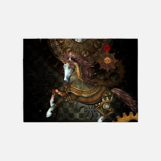 Steampunk,mystical steampunk unicorn 5'x7'Area Rug