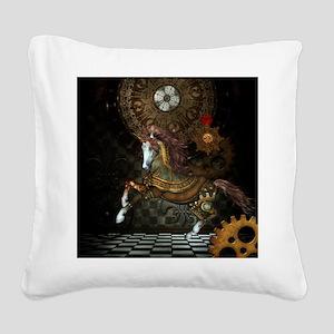 Steampunk,mystical steampunk unicorn Square Canvas