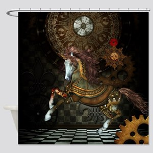 Steampunk,mystical steampunk unicorn Shower Curtai
