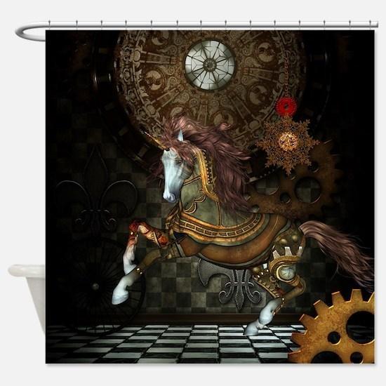 Steampunk,mystical steampunk unicorn Shower Curtai