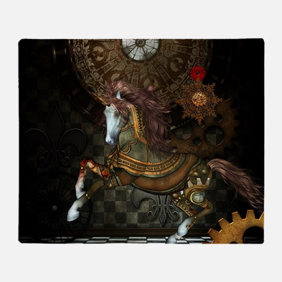 Steampunk,mystical steampunk unicorn Throw Blanket