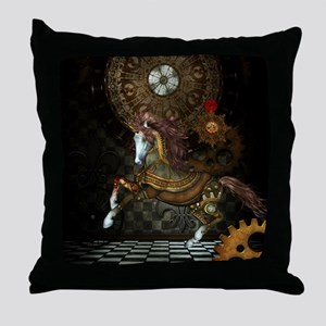 Steampunk,mystical steampunk unicorn Throw Pillow