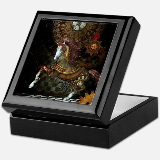 Steampunk,mystical steampunk unicorn Keepsake Box