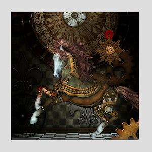 Steampunk,mystical steampunk unicorn Tile Coaster
