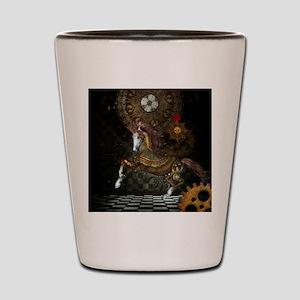 Steampunk,mystical steampunk unicorn Shot Glass