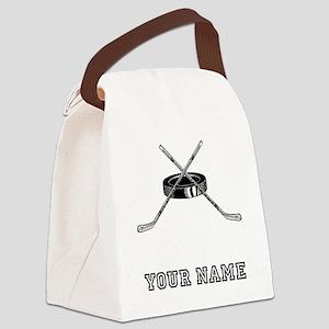 Hockey Sticks And Puck (Custom) Canvas Lunch Bag