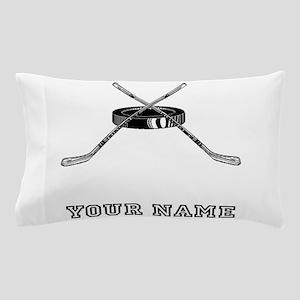 Hockey Sticks And Puck (Custom) Pillow Case