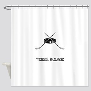 Hockey Sticks And Puck (Custom) Shower Curtain