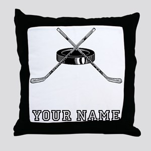 Hockey Sticks And Puck (Custom) Throw Pillow
