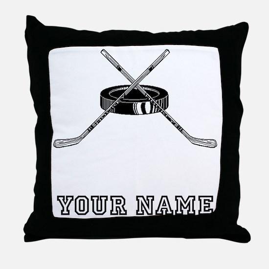 Hockey Sticks And Puck (Custom) Throw Pillow