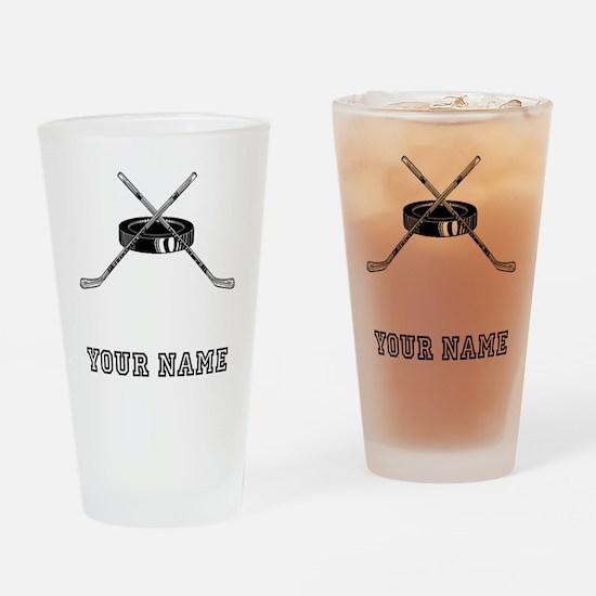 Hockey Sticks And Puck (Custom) Drinking Glass