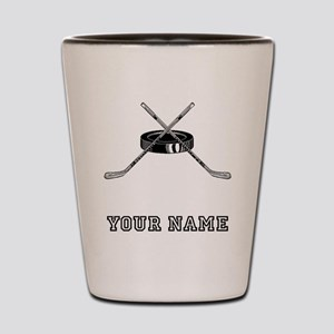Hockey Sticks And Puck (Custom) Shot Glass