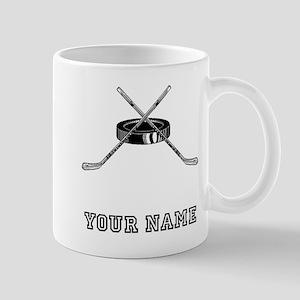Hockey Sticks And Puck (Custom) Mugs