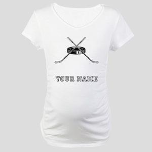 Hockey Sticks And Puck (Custom) Maternity T-Shirt