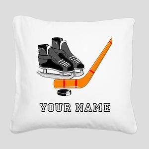 Hockey Equipment (Custom) Square Canvas Pillow