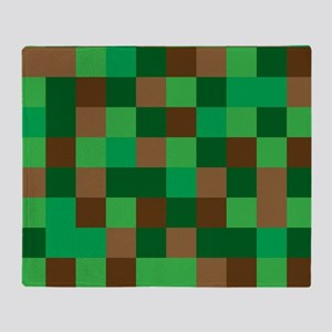Green Pixelated Design Throw Blanket