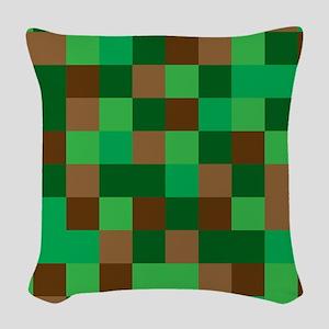 Green Pixelated Design Woven Throw Pillow