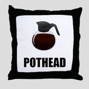 Coffee Pothead Throw Pillow