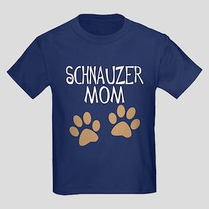 Big Paws Schnauzer Mom Kids Dark T-Shirt