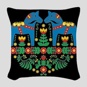 Swedish Dala Horse Woven Throw Pillow