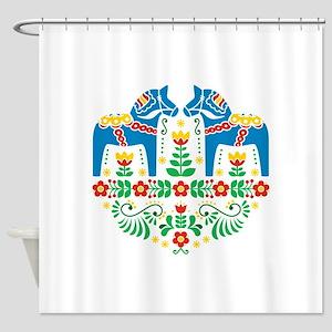Swedish Dala Horse Shower Curtain